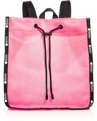 LeSportsac Nadine Embossed Stripe Drawstring Backpack - Pink