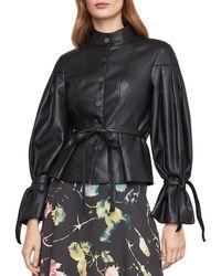 BCBGMAXAZRIA Faux Leather Pleated Sleeve Jacket - Black