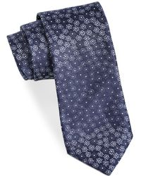 John Varvatos Star Usa Floral Silk Tie - Blue