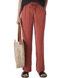 Whistles Stripe Wide Leg Trouser - Red