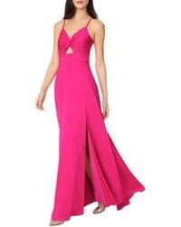 Aidan By Aidan Mattox Twist Front Mermaid Gown - Pink