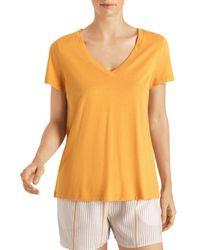 Hanro Sleep & Lounge Short-sleeve Shirt - Yellow