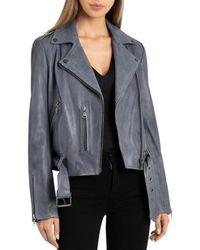 BAGATELLE.NYC - Pebbled Leather Biker Jacket - Lyst