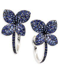 Pasquale Bruni 18k White Gold Petit Garden Sapphire Hoop Earrings - Blue