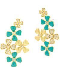 Freida Rothman Harmony Flower Cluster Earrings In 14k Gold - Plated Sterling Silver - Metallic