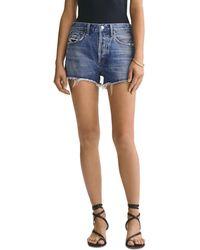Agolde Parker Cutoff Denim Shorts - Blue