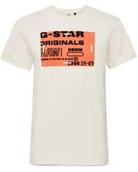G-Star RAW G - Star Raw Flock Badge Graphic Logo Tee - White