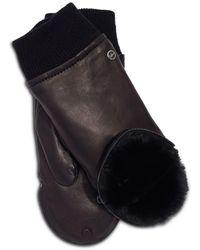 Echo Zip Top Leather & Faux Fur Mitten - Black