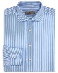 Canali - Cotton Fine Line Stripe Regular Fit Dress Shirt - Lyst