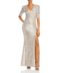 Aqua Sequined Evening Gown - Metallic