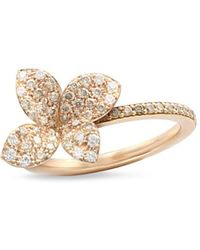 Pasquale Bruni 18k Rose Gold Secret Garden Four Petal Flower Pavé Diamond Ring - Multicolour