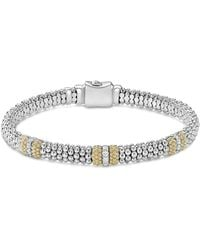 Lagos - 18k Gold & Sterling Silver Diamond Lux Three Station Bracelet - Lyst