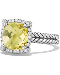 David Yurman Châtelaine Pavé Bezel Ring With Lemon Citrine And Diamonds - Multicolor