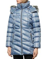 Marc New York Shirley Hooded Faux Fur Trim Parka - Blue