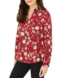 Foxcroft Floral Print Button Front Shirt - Red