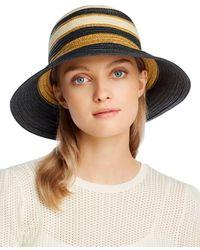 Echo Striped Tall Cloche Hat - Black