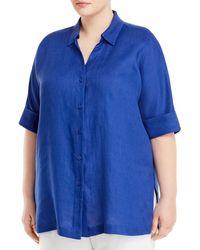 Marina Rinaldi Basilica Short - Sleeve Linen Shirt - Blue