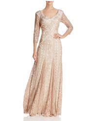 Tadashi Shoji | Three-quarter Sleeve Sequin Lace Gown | Lyst