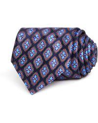Ermenegildo Zegna Floret Medallion Silk Classic Tie - Blue