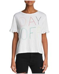 Sundry - Day Off Embroidered Ruffled Tee - Lyst