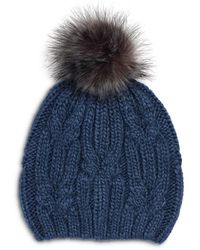 Echo Cable Knit Hat With Faux Fur Pom Pom - Blue
