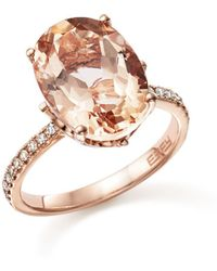 Bloomingdale's Morganite Oval And Diamond Statement Ring In 14k Rose Gold - Multicolour