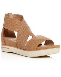 Eileen Fisher - Women's Woven Leather Crisscross Platform Sandals - Lyst