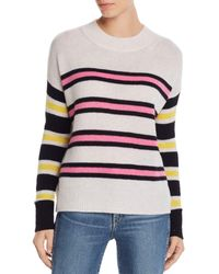 Aqua Cashmere Mixed Stripe Cashmere Jumper - Multicolour
