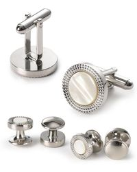 Bloomingdale's Engraved Circle Stud & Cufflink Set - Metallic