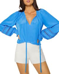 Ramy Brook Henri Embroidered Blouse - Blue
