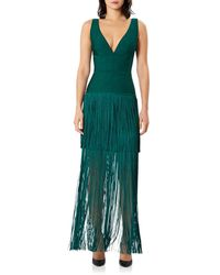 Hervé Léger Tiered Fringe Gown - Green