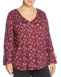 Lucky Brand - Smocked Floral-print Top - Lyst