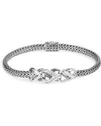 John Hardy - Sterling Silver Classic Chain Pavé Diamond Slim Bracelet - Lyst
