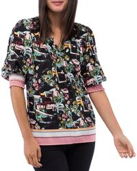 B Collection By Bobeau Valerie Printed Puff - Sleeve Blouse - Black