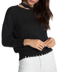 n:PHILANTHROPY Alloy Cutout Frayed Sweater - Black