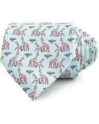 Thomas Pink Giraffe Family Print Classic Tie - Blue