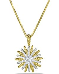 David Yurman - Starburst Small Pendant With Diamonds In Gold On Chain - Lyst
