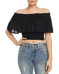 947e2b7f6e2 Tiare Hawaii - Kylie Off - The - Shoulder Ruffled Cropped Top - Lyst