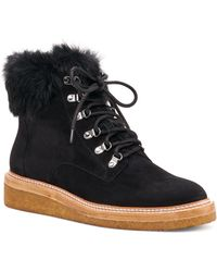 Botkier - Women's Winter Leather & Fur Lace Up Booties - Lyst