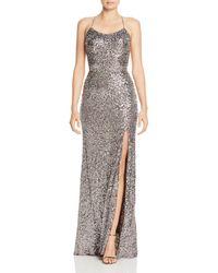 Aqua Sequin Embellished Gown - Metallic