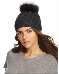 Inverni - Cashmere Lurex Asiatic Raccoon Fur Pom-pom Beanie - Lyst