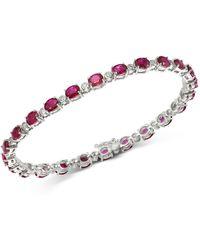 Bloomingdale's Ruby & Diamond Tennis Bracelet In 14k White Gold