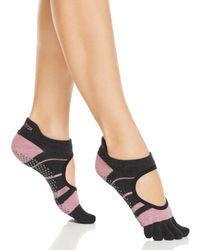 ToeSox Striped Bellarina Full Toe Grip Socks - Pink