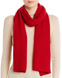 C By Bloomingdale's Waffle - Knit Cashmere Scarf - Red