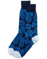 Bloomingdale's Cotton - Blend Tonal Tropical Leaf Crew Socks - Blue