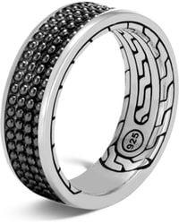 John Hardy Sterling Silver Classic Chain Black Rhodium Jawan Band Ring - Metallic