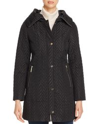 Kate Spade Chevron - Quilted Coat - Black
