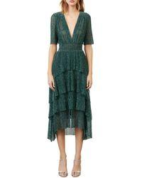 Maje Ruffine Lurex Ruffled Midi Dress - Green