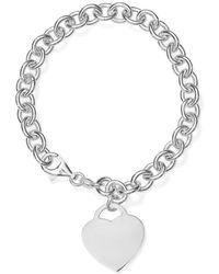 Aqua - Heart Charm Link Bracelet In Sterling Silver - Lyst