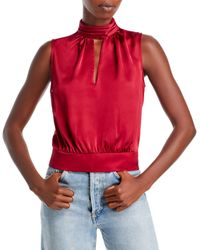 MILLY Rozanna Satin Sleeveless Top - Red